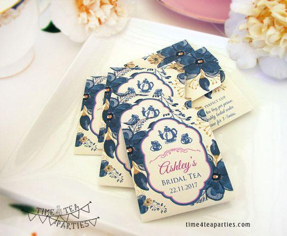 Navy Blue Floral Tea Bag Covers Bridal Tea Baby Shower