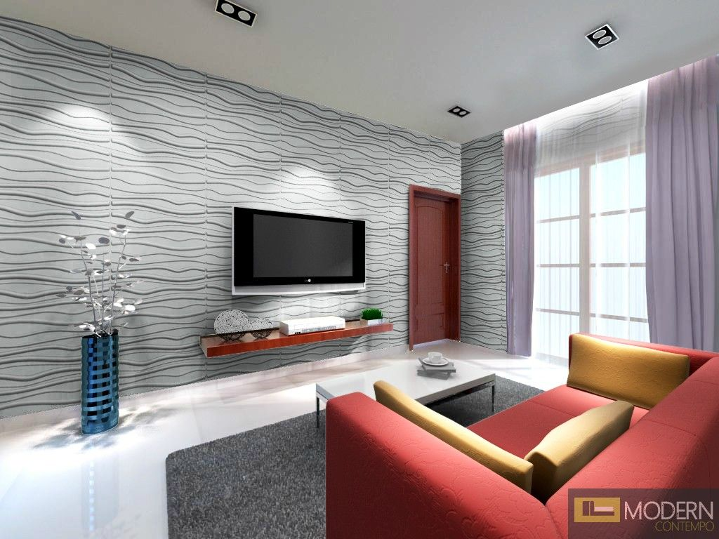 Decorative Wall Tiles Living Room Breeze Hard Pvc Glue On Wall 3D Panels  Box Of 10  54 Sq Ft