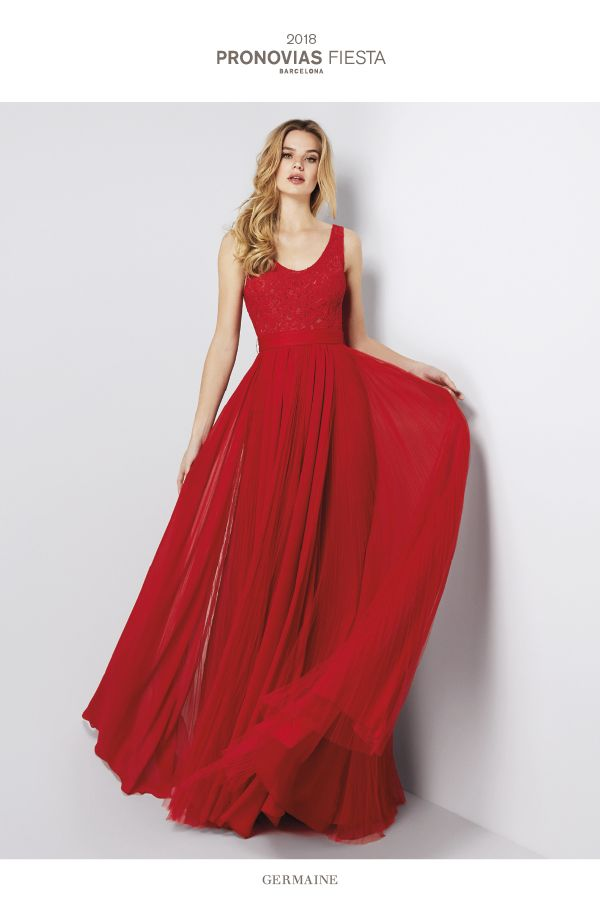 54b7f14abb95 Germaine  Red chiffon evening gown featuring a romantic design and a skirt  with wonderful movement.