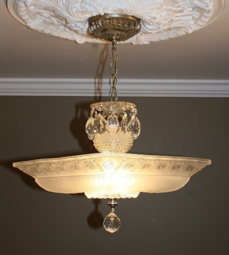 Antique large square frosted glass art deco custom light fixture
