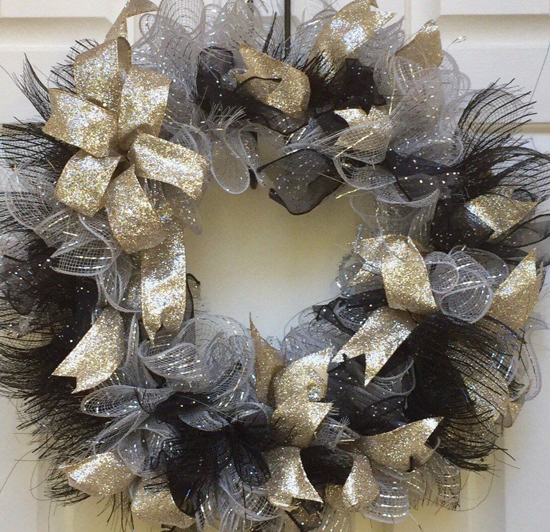 Sparkly Year Round Wreath For Front Door Party Celebration Decor Black Gold Silver Deco Mesh And Ribbon Gift For Her Birthday Decor Wreaths For Front Door Year Round Wreath Fun Wreath