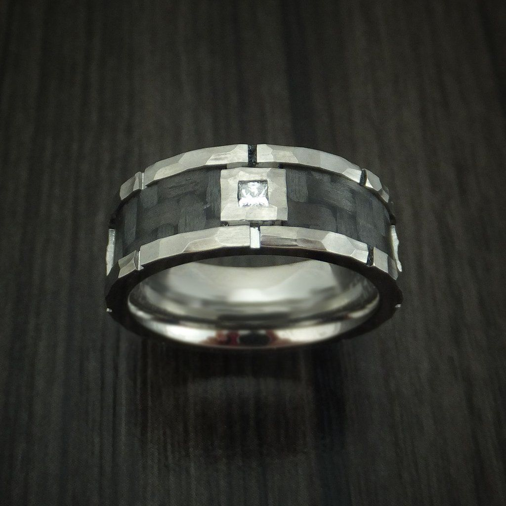 Cobalt Chrome Hammered Ring with Carbon Fiber Inlay and