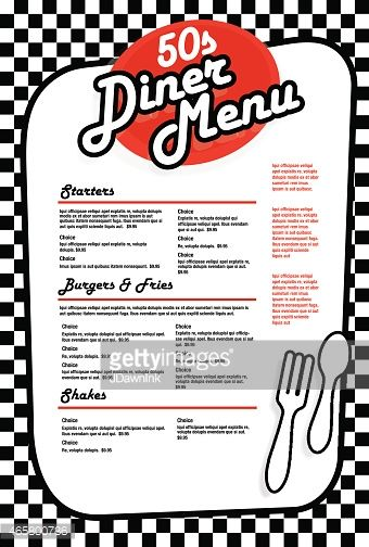 Vector Art Late Night Retro 50s Diner Menu Layout More