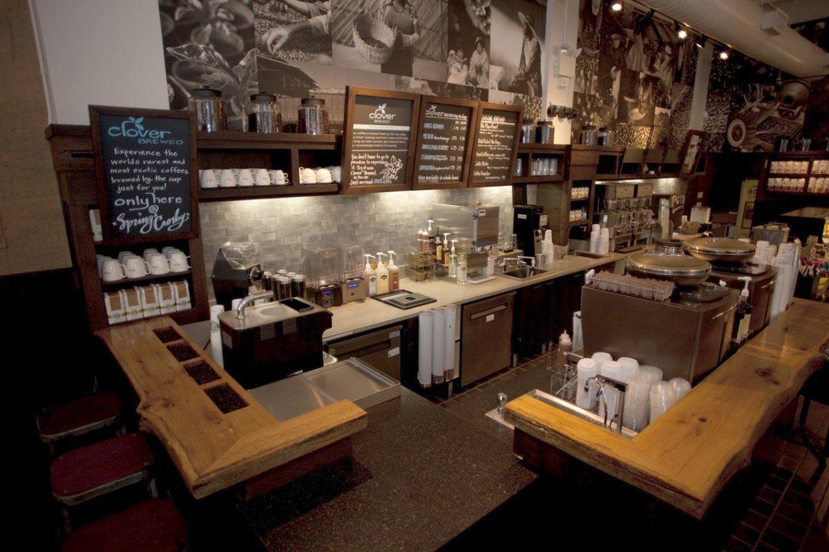 Clean Starbucks Cofee Kitchen Interior With Chalkboard Menu