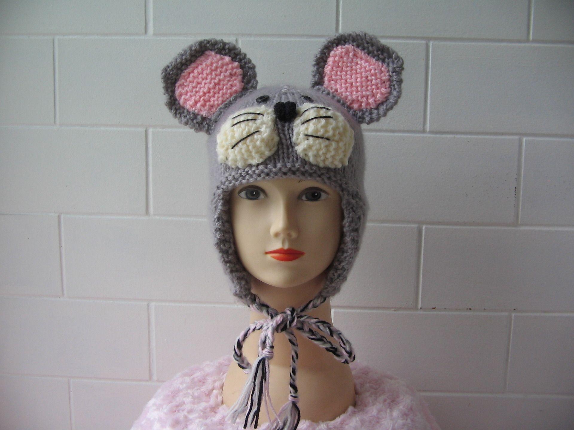 bonnet bébé souris tricoté en laine grise avec oreilles souris moustaches  blanches faite main  Mode