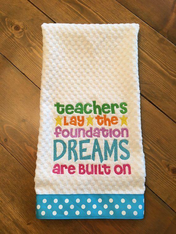 Teacher S Gift Embroidered Decorative Kitchen Towel Tea Towel Dish