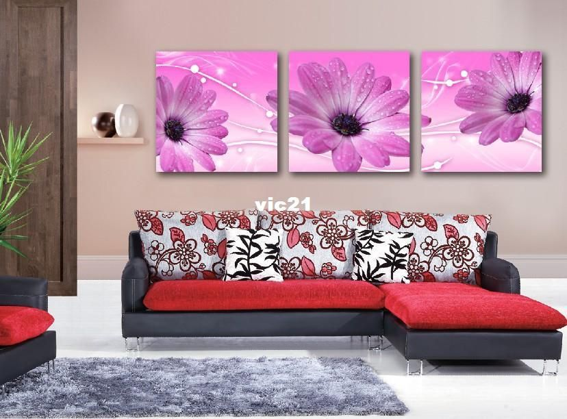 3Panels Pink Huge Modern Painting Canvas Romantic Flower Picture Superb Picture Superb Canvas Wall Art Fresh, $29.13 | DHgate.com