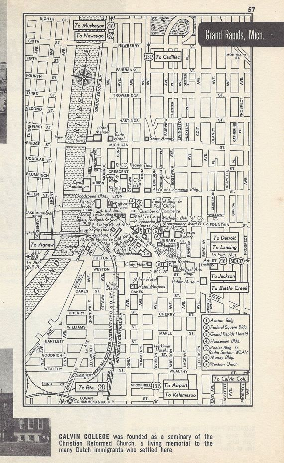 Road Maps Of Michigan Map.Grand Rapids Michigan Map City Map Street Map 1950s Black And