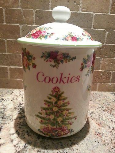 Old Country Roses Christmas Cookie Jar 11in Cookie Jar