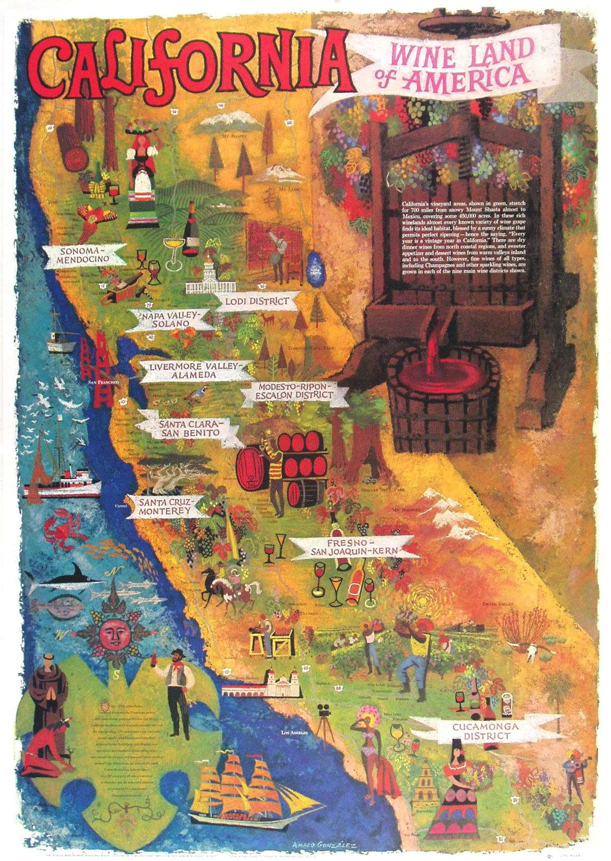 California Map Poster California Map - Vintage los angeles map poster