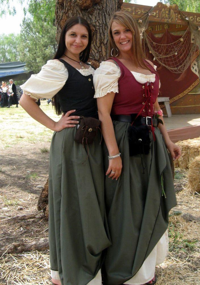 Women Renaissance Fair Medieval Pirate Peasant Costume Bodice Irish Over Dress