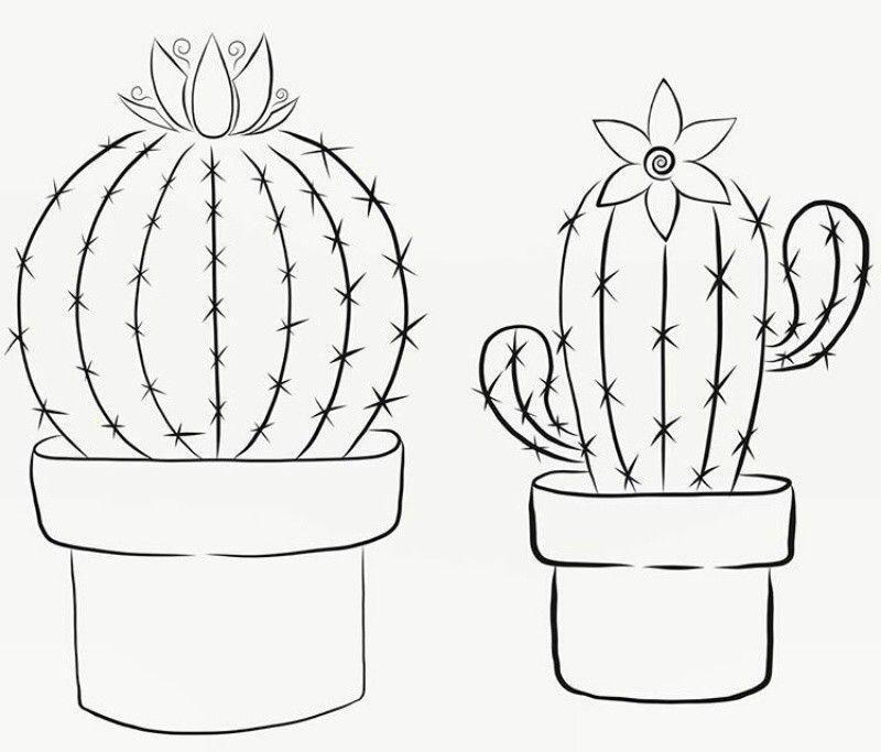 Картинки кактусы в горшке нарисованные