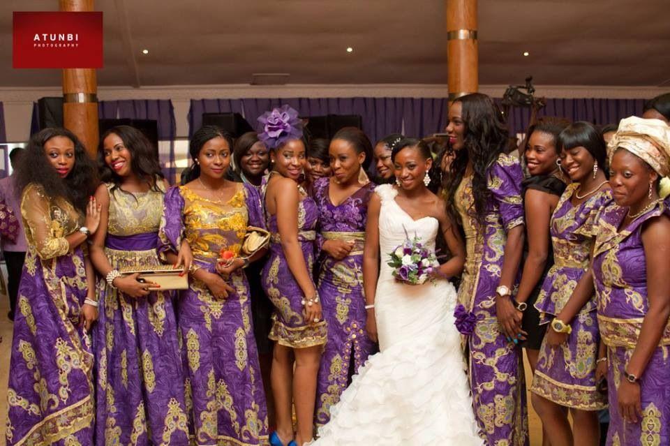 Purple N Gold Bridesmaids Rocking Ankara African Bridesmaid