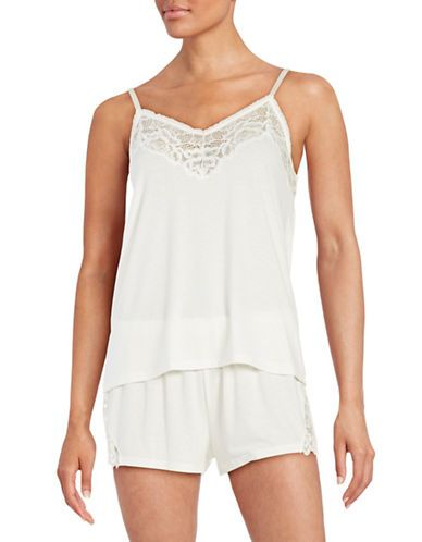Flora By Flora Nikrooz Lace Knit Cami Tap Set Women's Ivory X-Large
