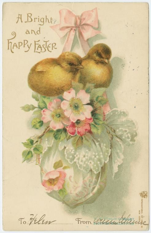 1906 Chicks On Easter Egg With Wild Roses