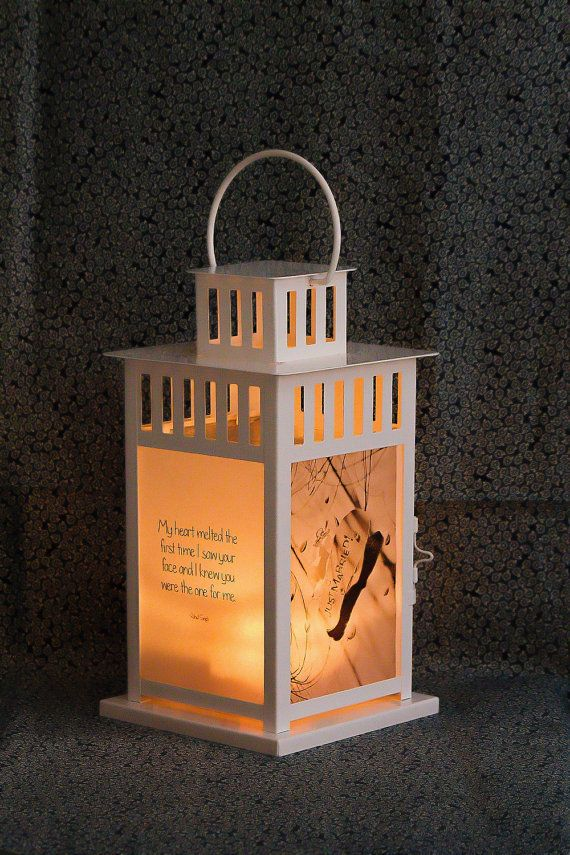 Just Married Lantern with Romantic Quotes by PictureItDecor
