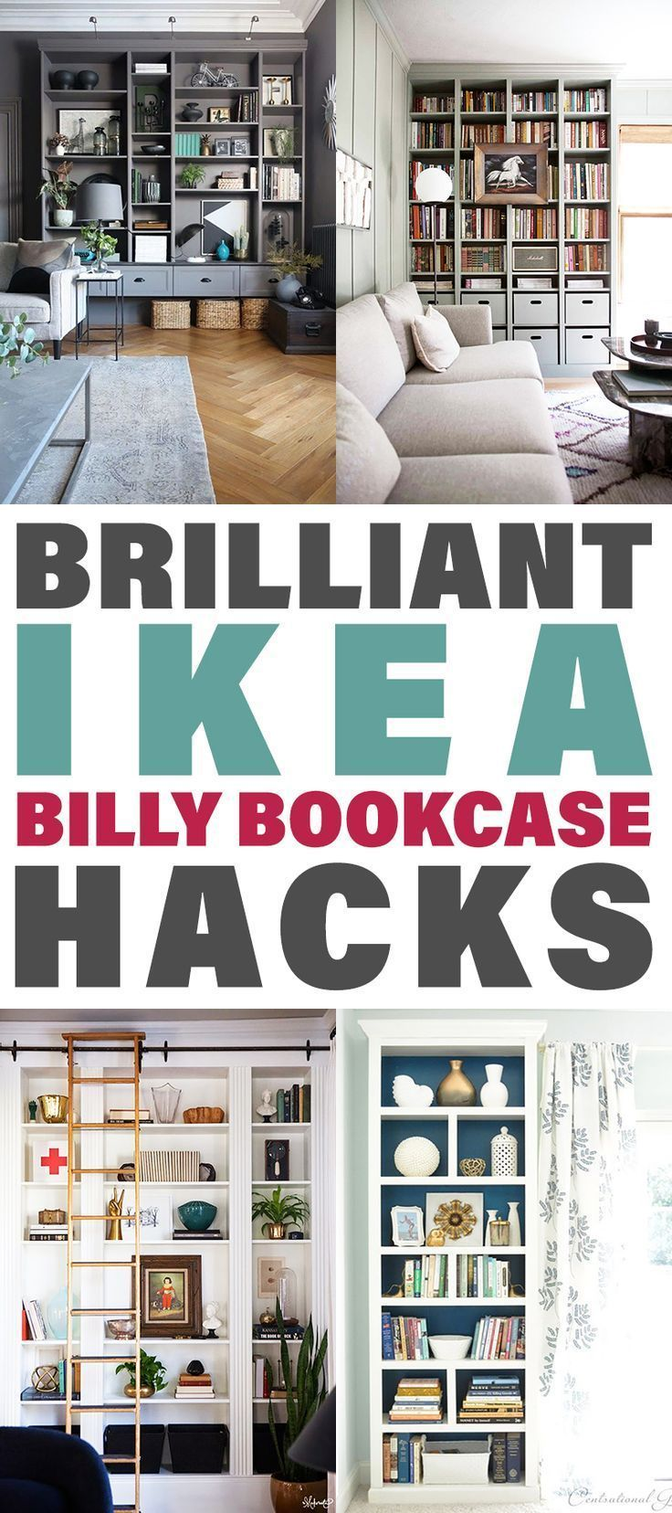 Brilliant IKEA Billy Bookcase Hacks. These DIY IKEA hacks staring the Billy Bookcase are going to amaze you.  You can get an expensive highend home decor look on a budget.  Complete tutorials and Diys are waiting for you.  Simply fabulous IKEA Hack Bookshelves ever. #ikeahack #ikea #billybookcaseikeahacks #BookcaseHacks #BookcaseIKEAhacks