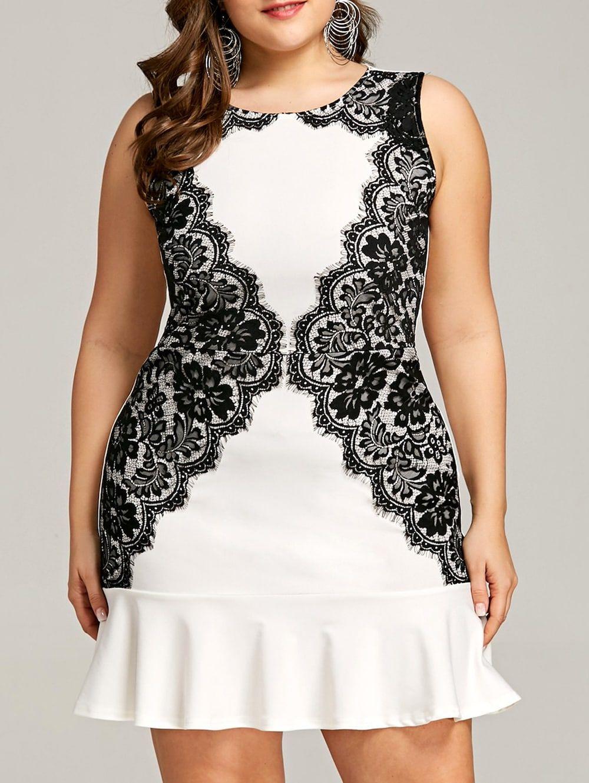 Eyelash lace panel plus size mini fishtail dress