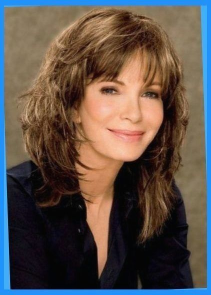medium length hairstyles with bangs for women over 50 ...