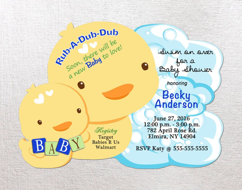 Duck Baby Shower Invitation, Ducky Die Cut Duck Invites Invitation ...