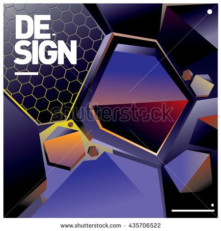 Vector Illustration Modern colorful background material design with hexagon…