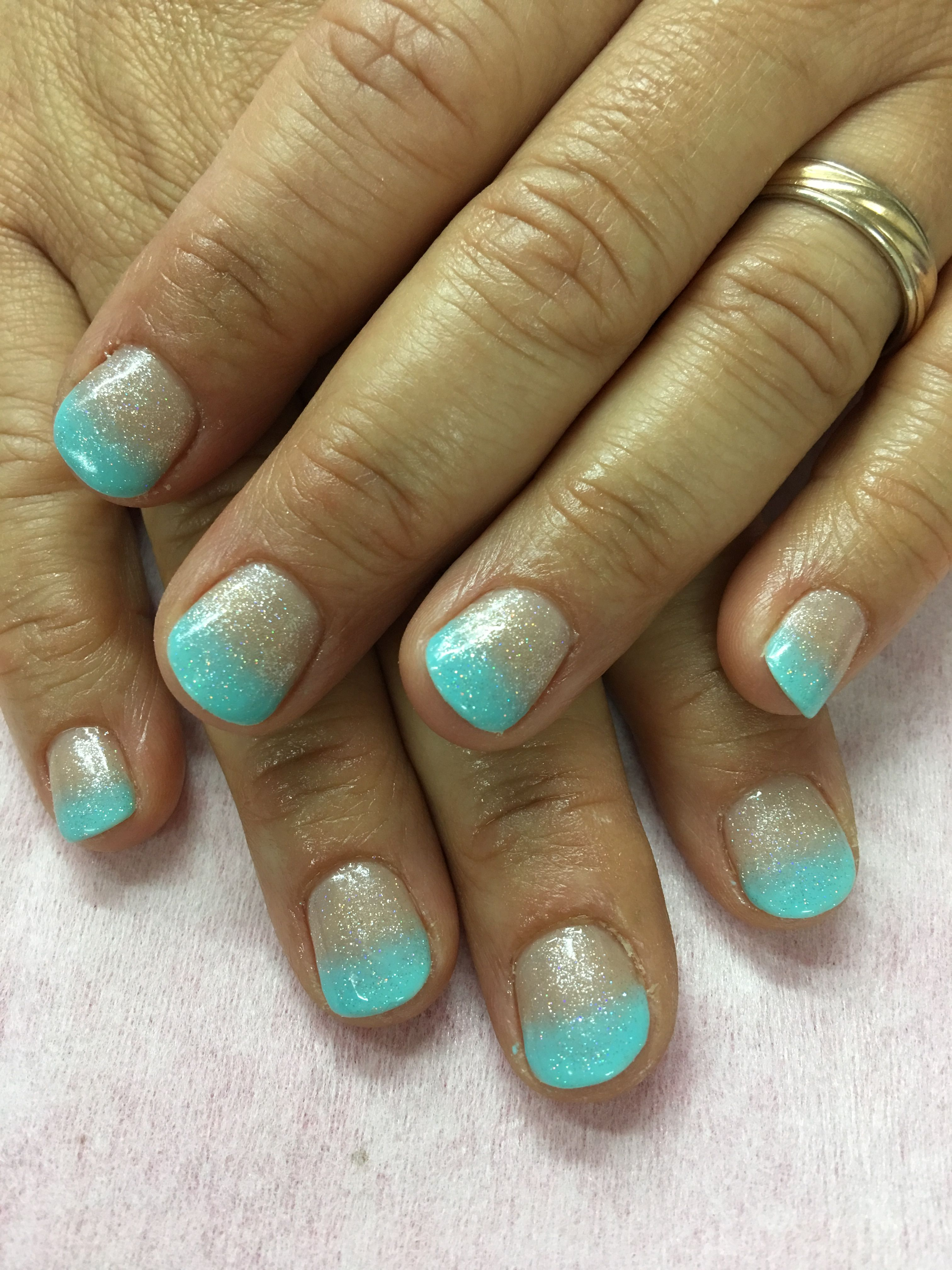 Summer Beach Vacation Aqua Blue Shimmer Ombre Gel Nails Gel Nail