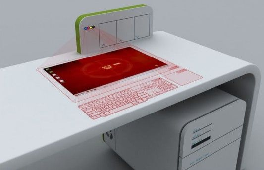 futuristic office desk. Futuristic Office Desk Concept With Virtual Computer