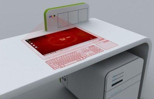 Futuristic Office Desk Concept With Virtual Computer