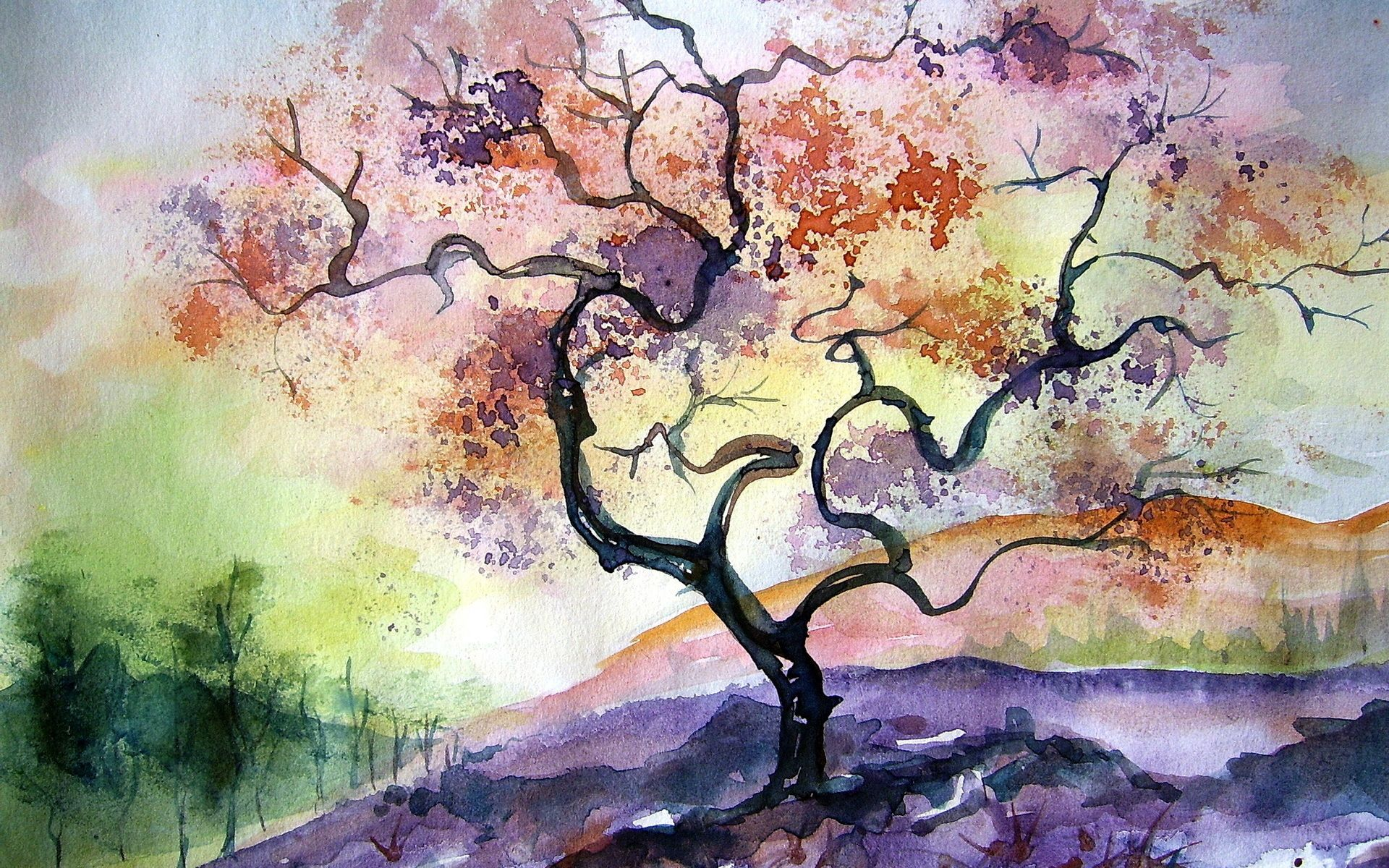 Watercolor Paintings Watercolor Tree Painting 1920x1200 12366