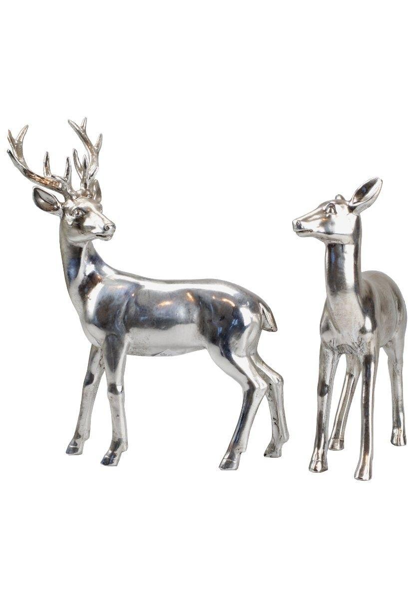 aufsteller reh hirsch geweih stehend in silber metall look 2er set deko silber deko. Black Bedroom Furniture Sets. Home Design Ideas