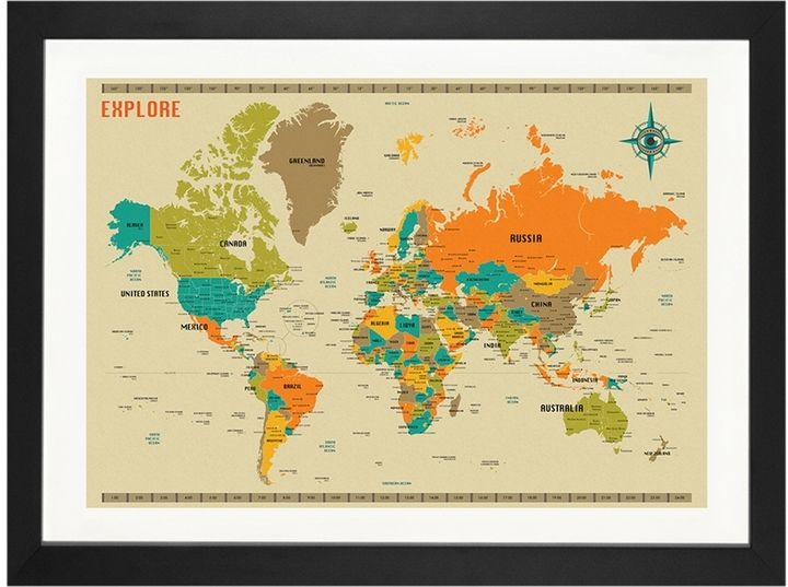 iCanvas New World Map by Jazzberry Blue (Framed) Products - new world map canvas picture
