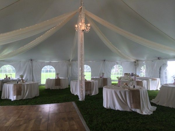 High Peak Pole Tent Cathedral Walls Ivory Kiting With String Lights