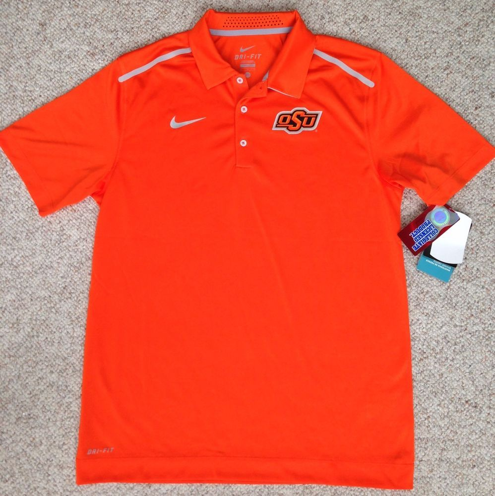 new 80 nike dri fit oklahoma state cowboys golf polo t. Black Bedroom Furniture Sets. Home Design Ideas