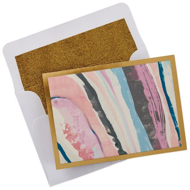 pink marbleized blank note cards box of 8 with images