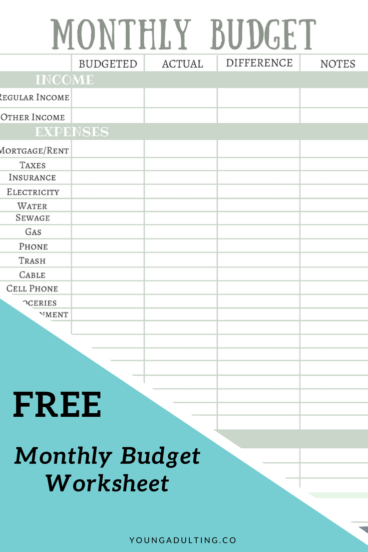 grab your free printable from youngadultingco its a monthly budget worksheet and also