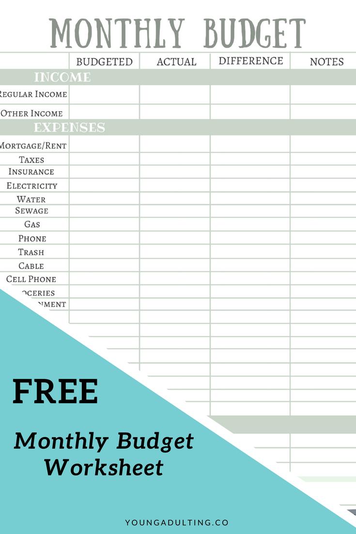 Free Monthly Budget Worksheet Monthly budget worksheet
