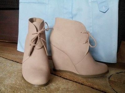 Tally Weijl Bezowe Botki Koturn 40 Basic Wiosenne 6778871728 Oficjalne Archiwum Allegro Boots Shoes Wedge Boot