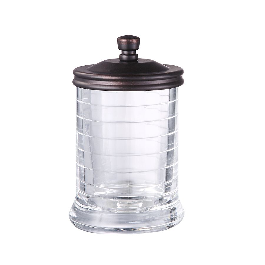 Bathroom Canister Allen Roth Aldercy Clear Glass With Oil Rubbed Bronze Metal Bathroom