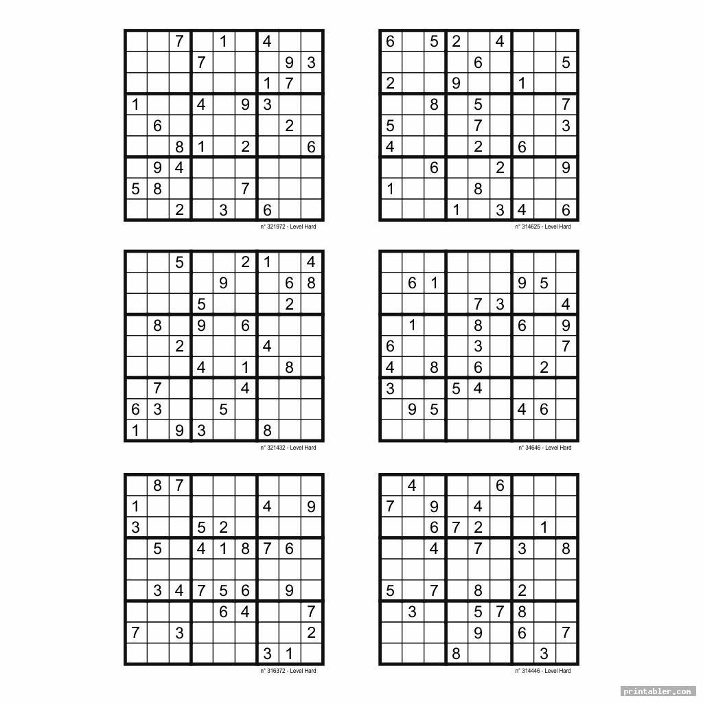 Hard Sudoku Printable 6 Per Page Image Free