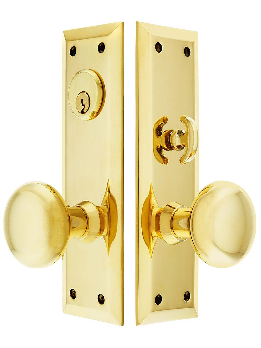 New York Large Plate Mortise Entry Set In Forged Brass Large
