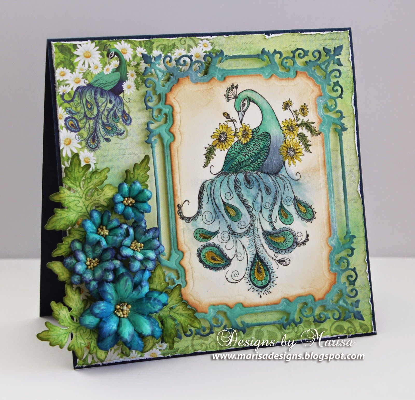 Designs by Marisa: Heartfelt Creations March Release - Peacock and Delightful Daisies Card