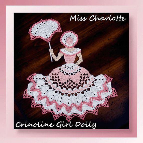 0743 miss Charlotte crinolina chica tapete ganchillo patrón | dama ...