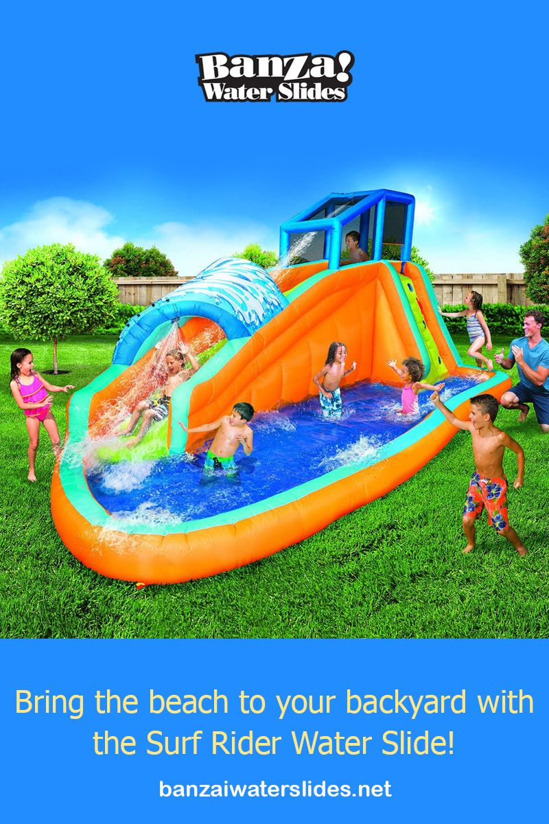 This inflatable water slide and park integrate multiple ...