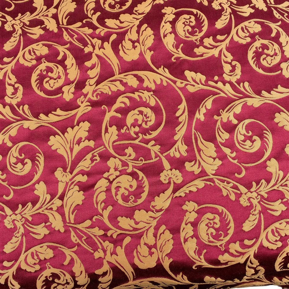 Fancy Scroll Fabric Upholstery Decor Red Gold Drapery Vtg Designer By The Yard Unbranded