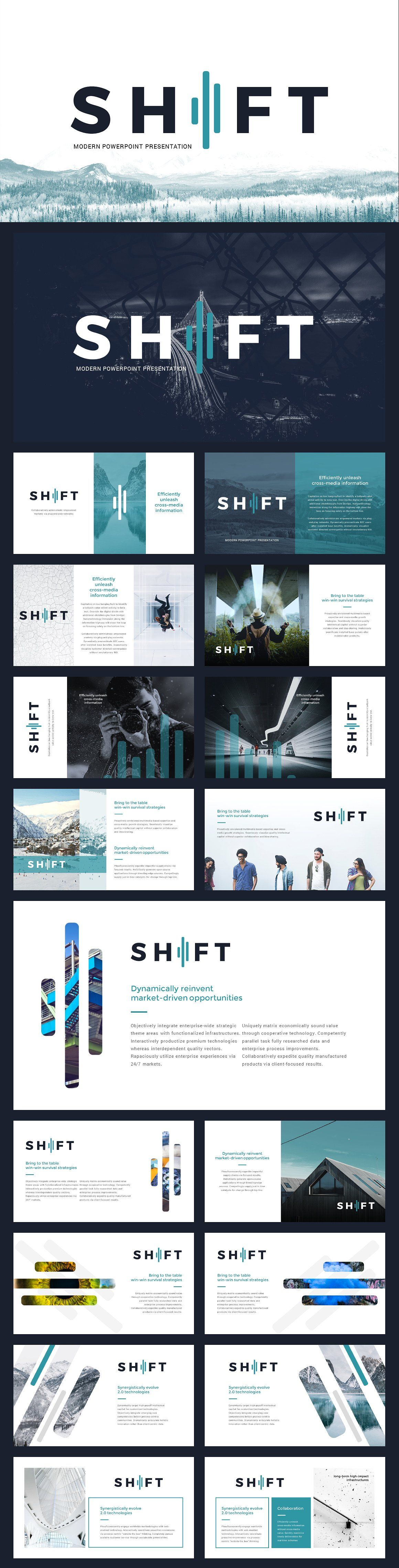 shift modern powerpoint templatereshapely on @creativemarket, Presentation templates