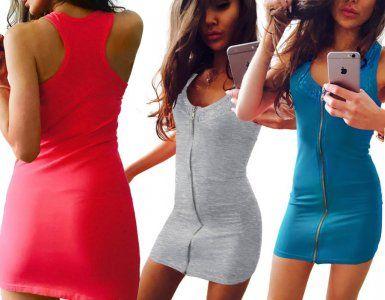 Dopasowana Sukienka Tunika Top Zamek Koronka M317 Fashion Clothes Bodycon Dress