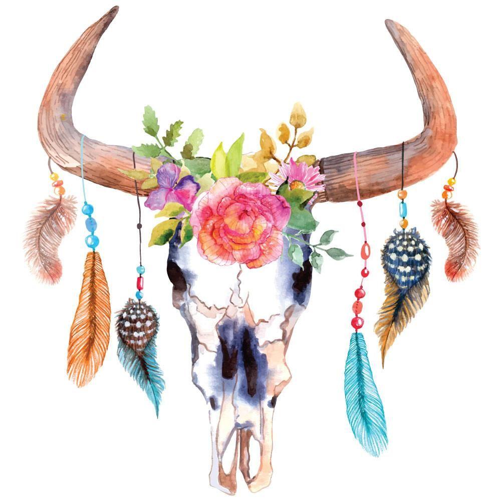 Deer Head Painting With Flowers