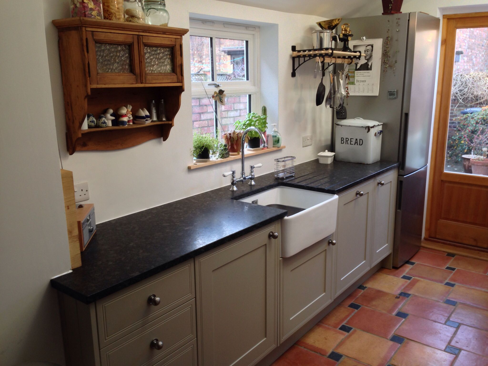 Mid range shaker kitchen with steel grey leather granite and Belfast ...