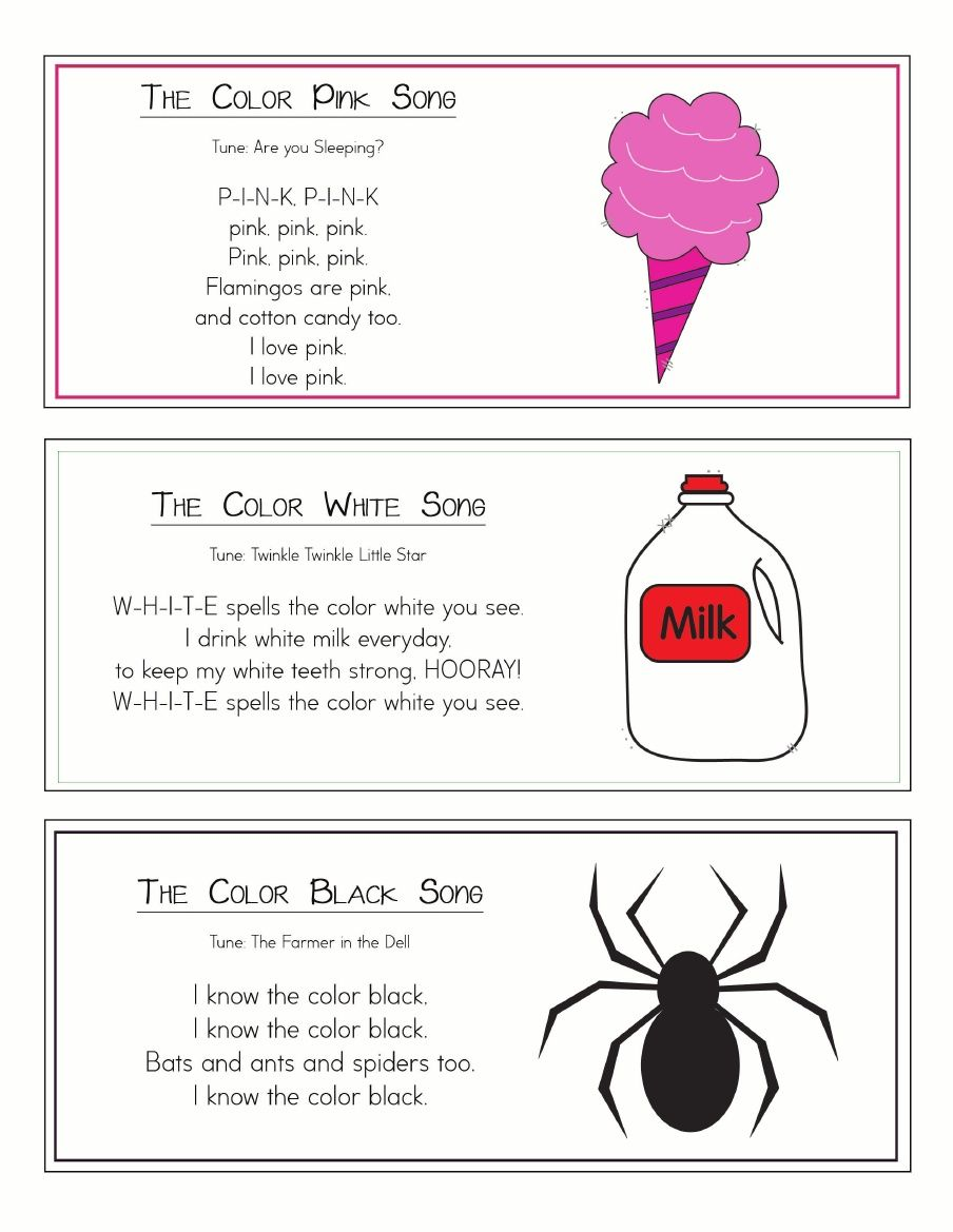 Color songs ring with images color songs kindergarten