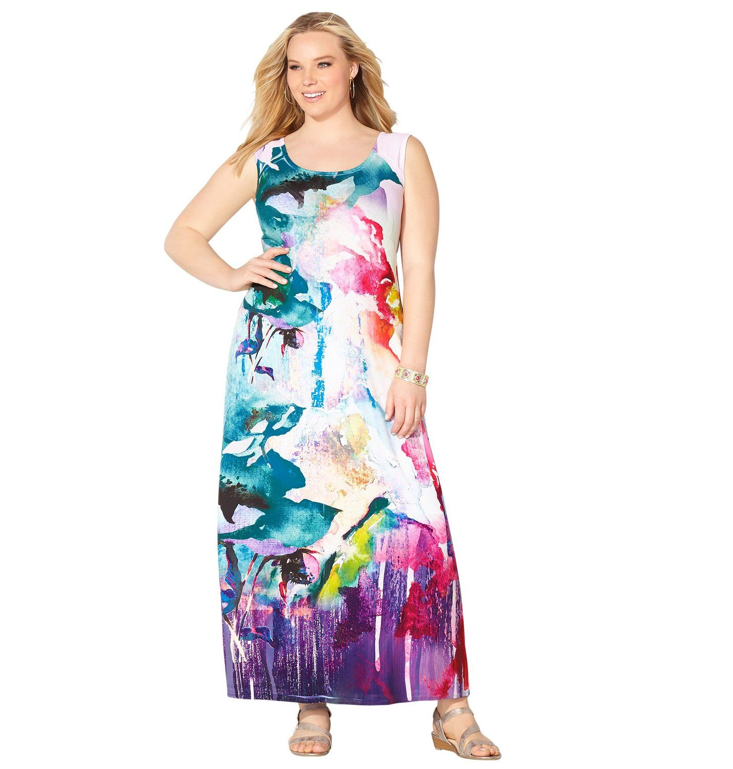 cd00a09073e Avenue Women s Watercolor Floral Sublimation Maxi Dress at Amazon Women s  Clothing store